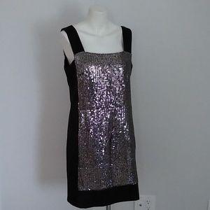 Nanette Lepore shift sequin black silver dress